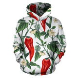 Chili Leaves Flower Pattern Pullover Hoodie