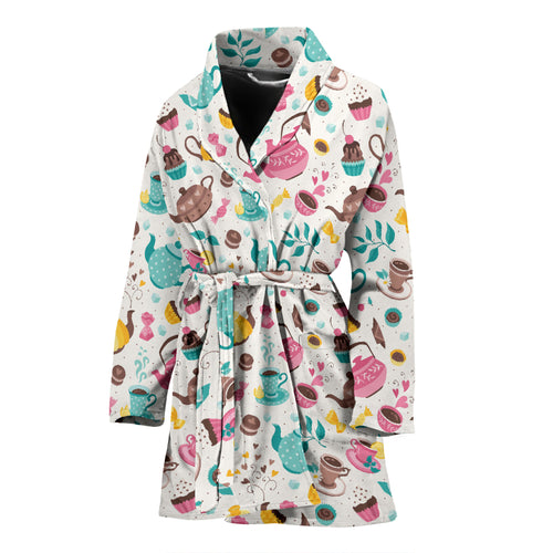 Tea pots Pattern Print Design 05 Women Bathrobe