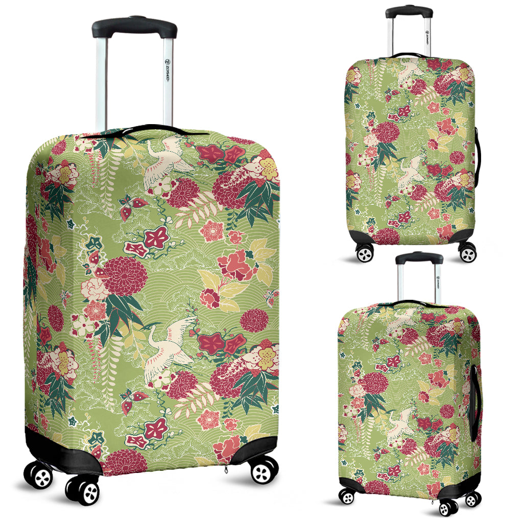 Japanese Crane Green Theme Pattern Luggage Covers