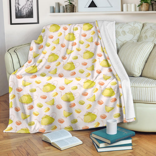 Tea pots Pattern Print Design 03 Premium Blanket
