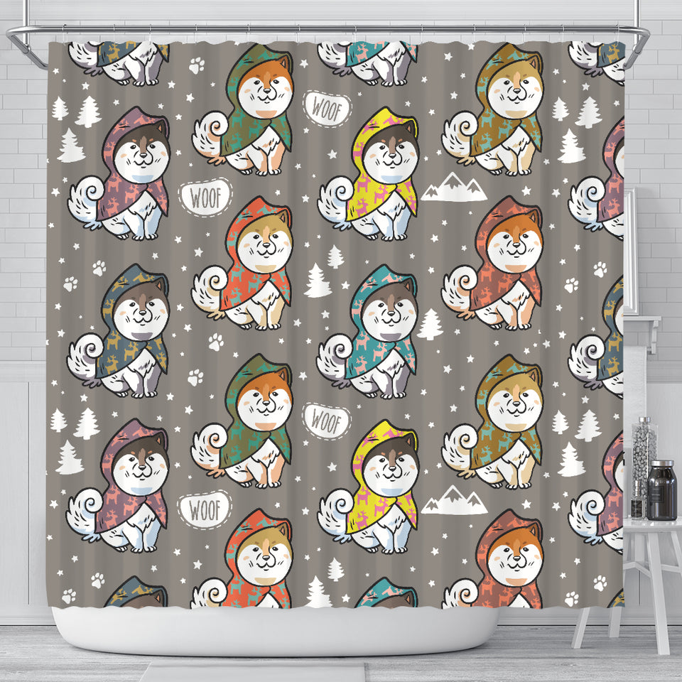 Cute Siberian Husky Raincoat Pattern Shower Curtain Fulfilled In US
