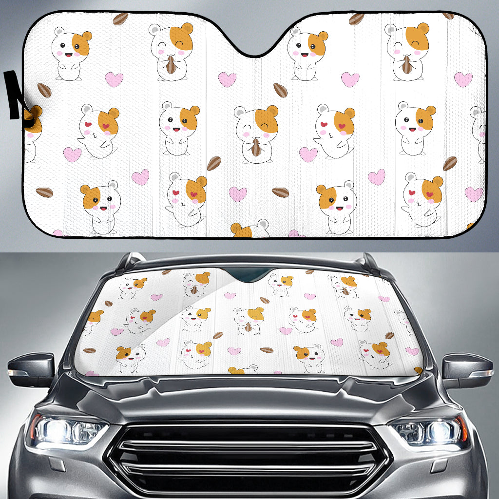 Hamster Seed Heart Pattern Car Sun Shade