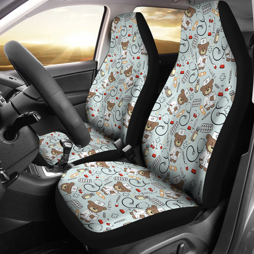 Teddy Bear Pattern Print Design 02 Universal Fit Car Seat Covers