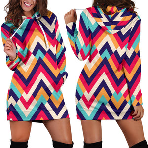 Zigzag Chevron Pattern Background Women Hoodie Dress
