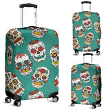 Suger Skull Pattern Green Background Luggage Covers