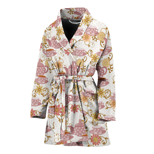 Tea pots Pattern Print Design 01 Women Bathrobe