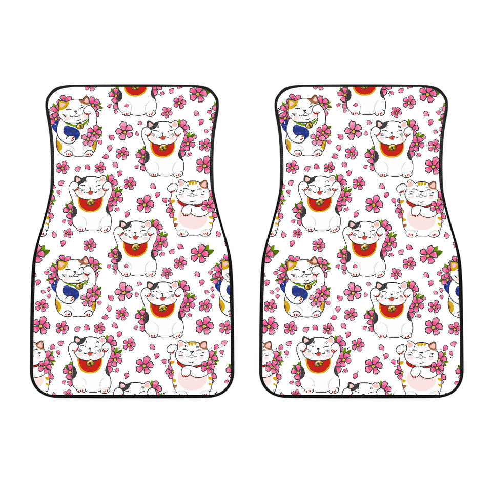 Meneki Neko Lucky Cat Sakura Flower Pattern Front Car Mats
