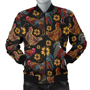 Rooster Chicken Flower Pattern Men Bomber Jacket