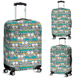 Owl Pattern Green Background Luggage Covers