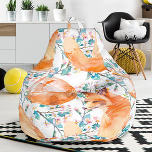 Fox Water Color Pattern Bean Bag Chair