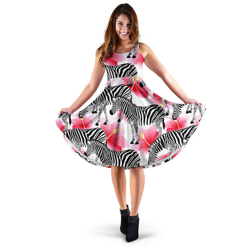 Zebra Red Hibiscus Pattern Sleeveless Midi Dress