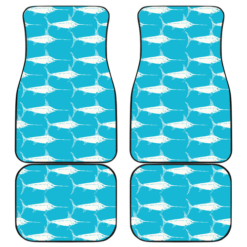 Swordfish Pattern Print Design 02 Front and Back Car Mats
