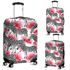 Zebra Red Hibiscus Pattern Luggage Covers