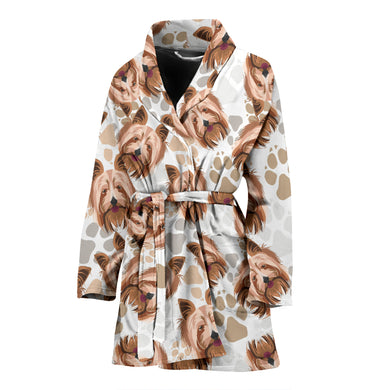 Yorkshire Terrier Pattern Print Design 04 Women Bathrobe