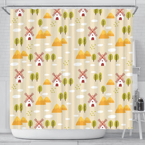 Windmill Pattern Shower Curtain Fulfilled In US