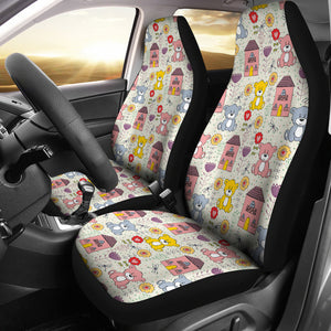 Teddy Bear Pattern Print Design 04 Universal Fit Car Seat Covers