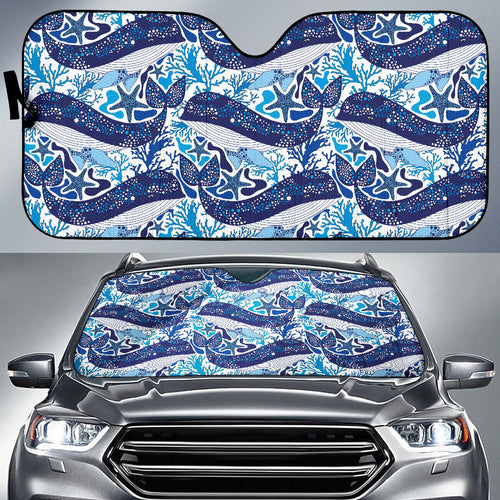 Whale Starfish Pattern Car Sun Shade