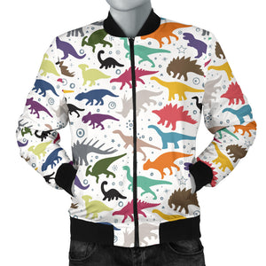 Colorful Dinosaur Pattern Men Bomber Jacket