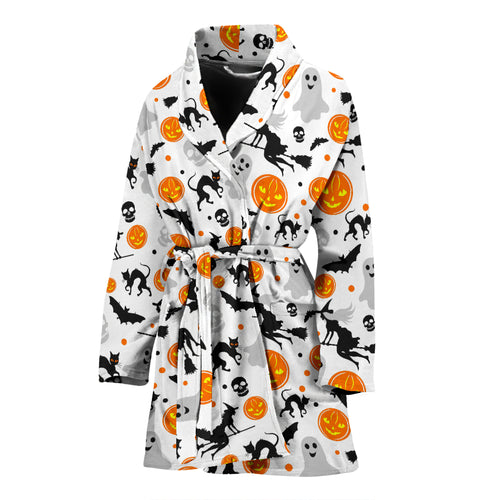 Halloween Pattern Women Bathrobe