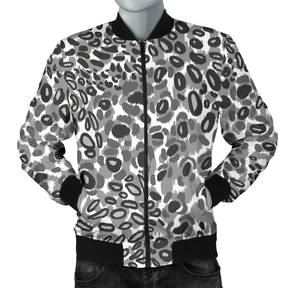 Gray Leopard Texture Pattern Men Bomber Jacket