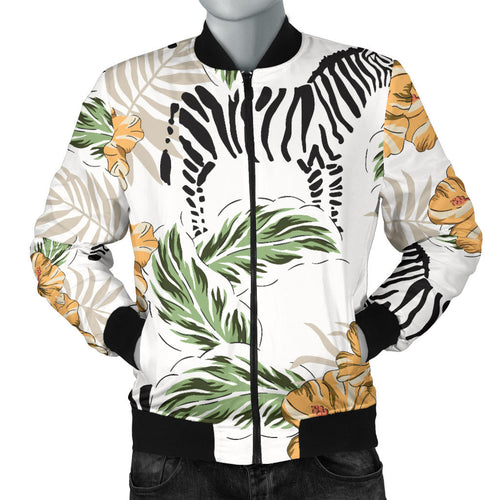 Zebra Hibiscus Pattern Men Bomber Jacket