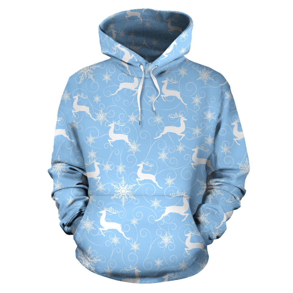 Snowflake Deer Pattern Men Women Pullover Hoodie
