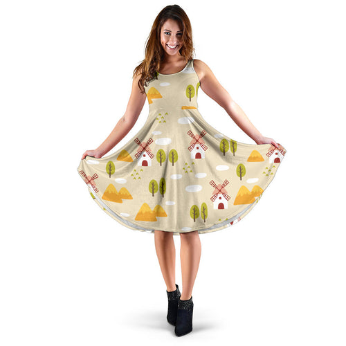 Windmill Pattern Sleeveless Midi Dress