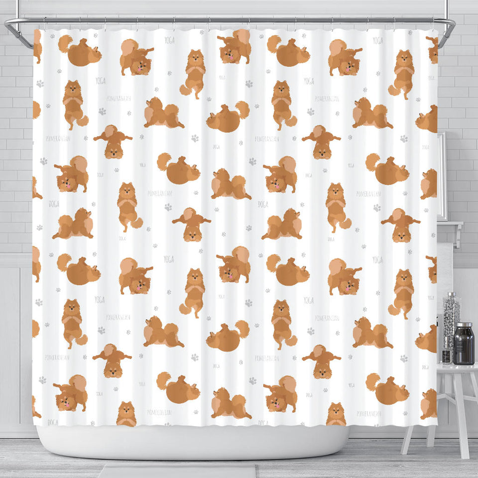 Pomeranian Yoga Pattern Shower Curtain Fulfilled In US