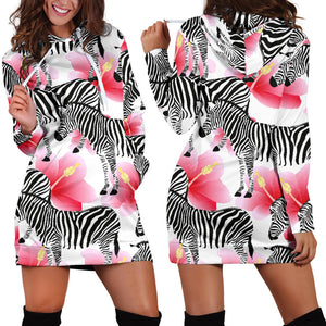 Zebra Red Hibiscus Pattern Women Hoodie Dress