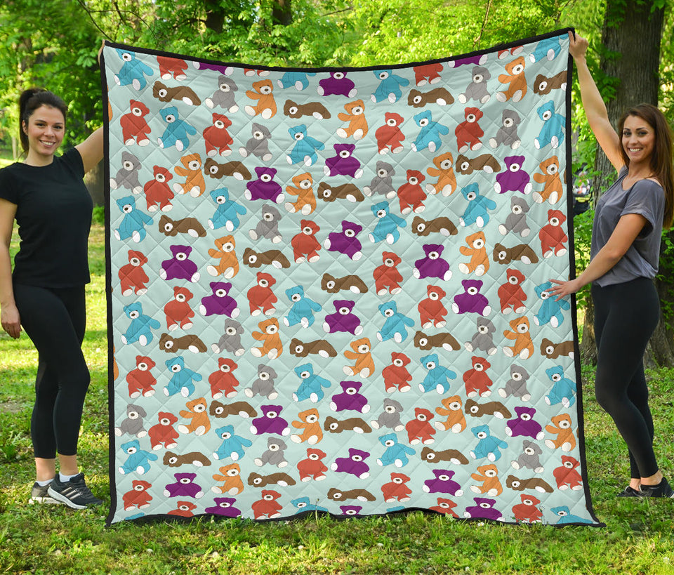 Teddy Bear Pattern Print Design 03 Premium Quilt