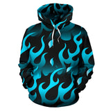 Blue Flame Fire Pattern Background Pullover Hoodie