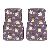 Dachshund in Coffee Cup Flower Pattern Front Car Mats
