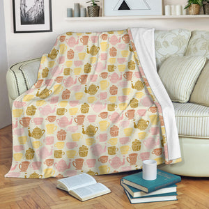 Tea pots Pattern Print Design 02 Premium Blanket