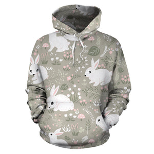 Cute Rabbit Pattern Men Women Pullover Hoodie