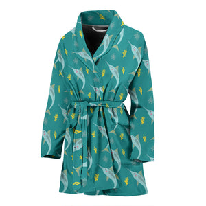 Swordfish Pattern Print Design 04 Women Bathrobe