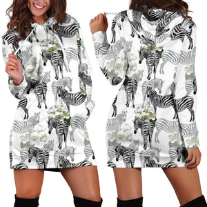 Zebra Pattern Women Hoodie Dress