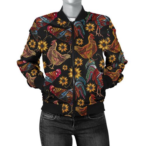 Rooster Chicken Flower Pattern Women Bomber Jacket