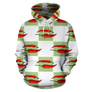 Red Chili Pattern Green White background Men Women Pullover Hoodie