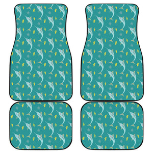 Swordfish Pattern Print Design 04 Front and Back Car Mats