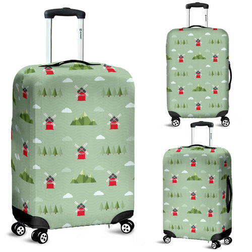 Windmill Green Pattern Luggage Covers