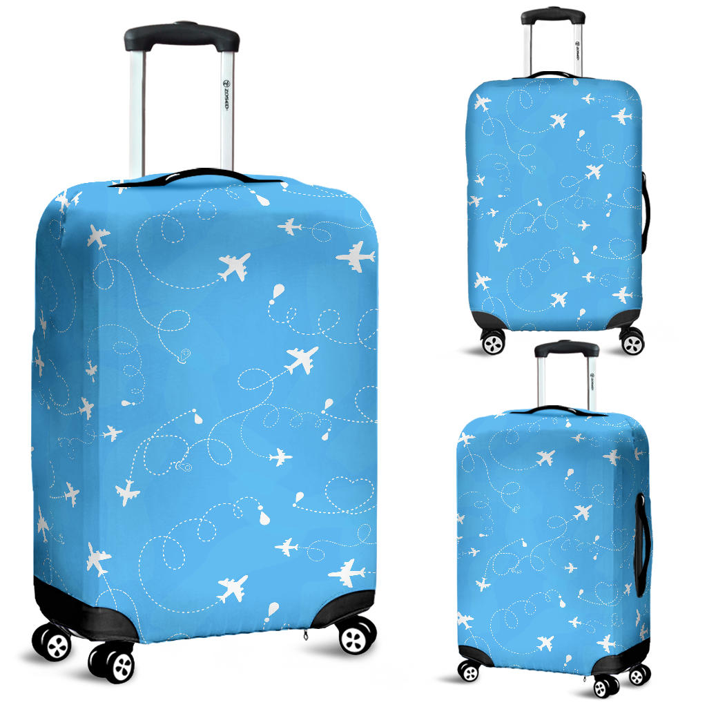 Airplane Pattern Blue Backgroung Luggage Covers