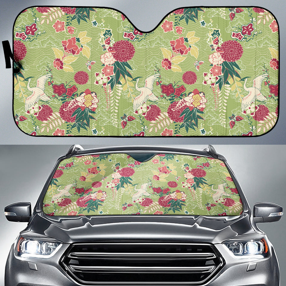 Japanese Crane Green Theme Pattern Car Sun Shade
