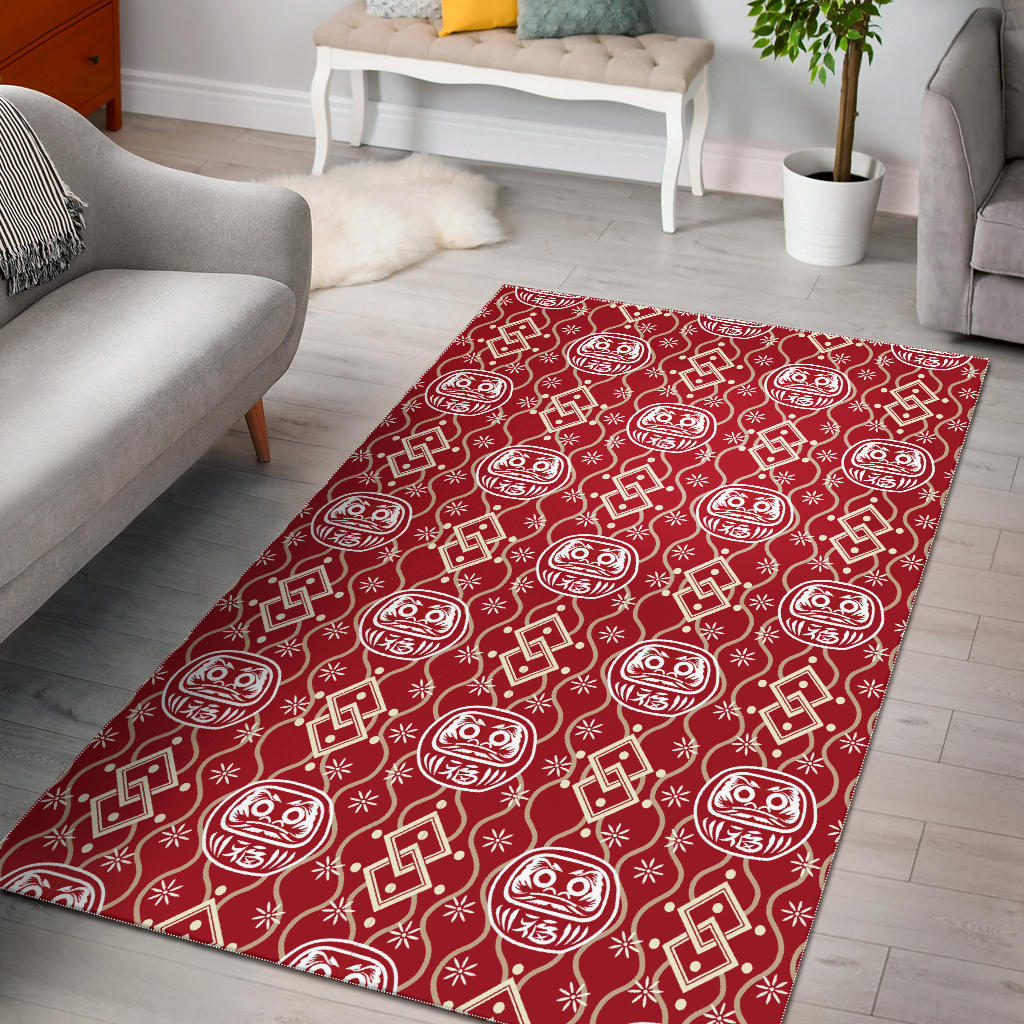 Daruma Red Pattern Area Rug