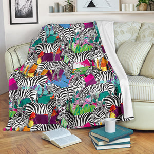 Zebra Colorful Pattern Premium Blanket