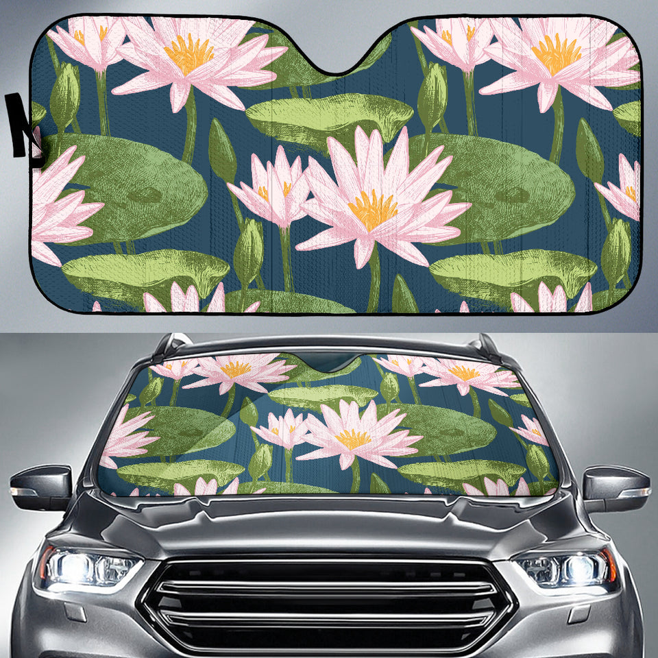 Lotus Waterlily Pattern background Car Sun Shade