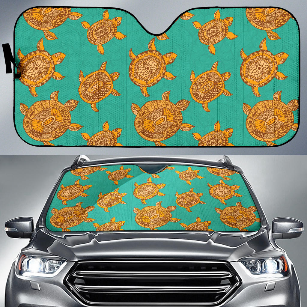 Sea Turtle Tribal Aboriginal Pattern Car Sun Shade