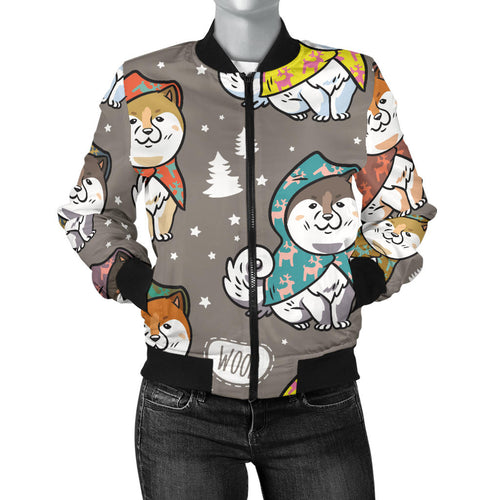 Cute Siberian Husky Raincoat Pattern Women Bomber Jacket