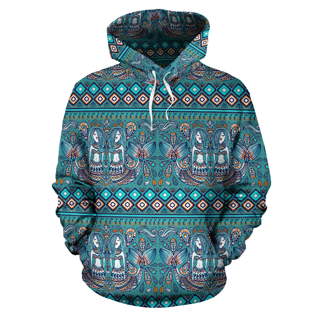 Mermaid Pattern Ethnic Motifs Men Women Pullover Hoodie