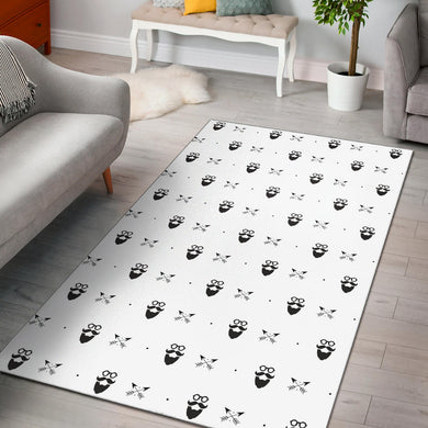 Mustache Beard Pattern Print Design 01 Area Rug