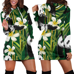 Panda Bamboo Flower Pattern  Women Hoodie Dress